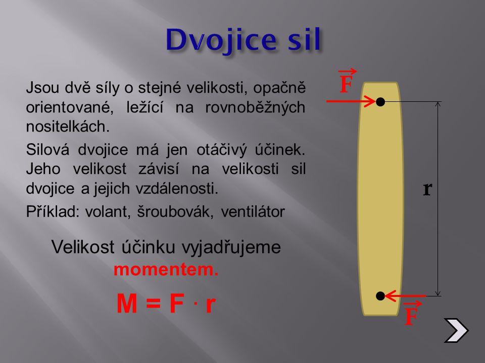 Jsou dvě síly o stejné velikosti, opačně orientované, ležící na rovnoběžných nositelkách. Silová dvojice má jen otáčivý účinek. Jeho velikost závisí n