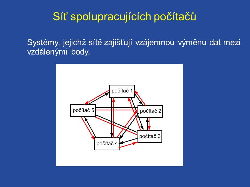 Síť spolupracujících počítačů Systémy, jejichž sítě zajišťují vzájemnou výměnu dat mezi vzdálenými body.