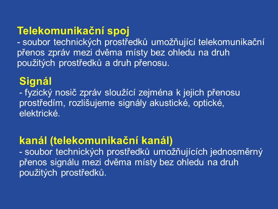 Telekomunikační spoj - soubor technických prostředků umožňující telekomunikační přenos zpráv mezi dvěma místy bez ohledu na druh použitých prostředků a druh přenosu.