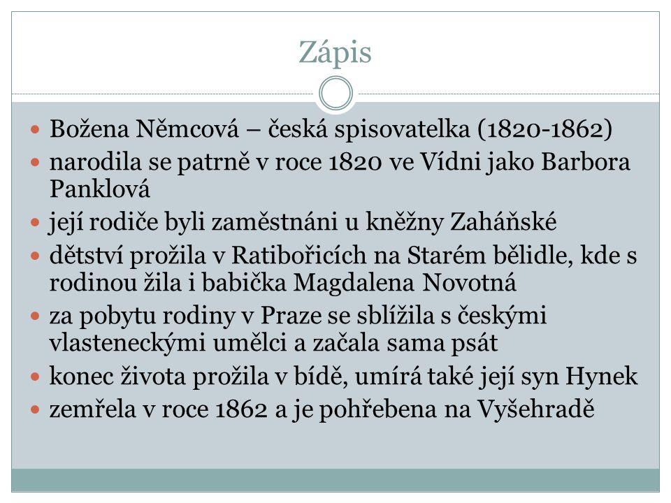 Zápis Božena Němcová – česká spisovatelka (1820-1862) narodila se patrně v roce 1820 ve Vídni jako Barbora Panklová její rodiče byli zaměstnáni u kněžny Zaháňské dětství prožila v Ratibořicích na Starém bělidle, kde s rodinou žila i babička Magdalena Novotná za pobytu rodiny v Praze se sblížila s českými vlasteneckými umělci a začala sama psát konec života prožila v bídě, umírá také její syn Hynek zemřela v roce 1862 a je pohřebena na Vyšehradě