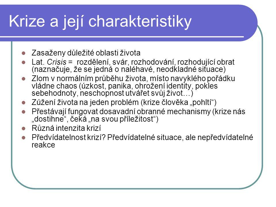 Krize a její charakteristiky Zasaženy důležité oblasti života Lat.