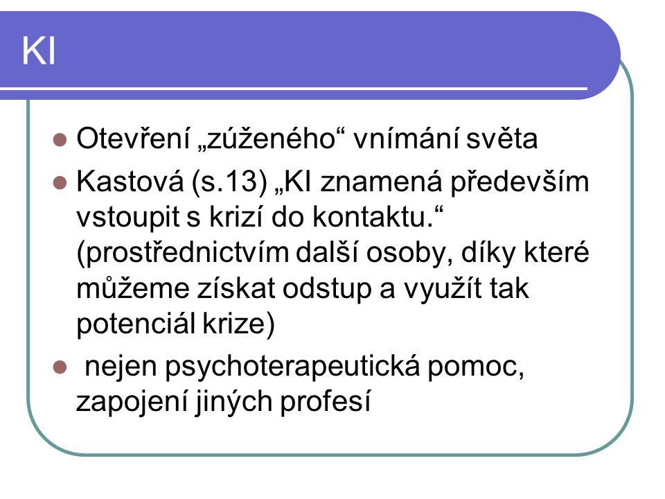 """KI Otevření """"zúženého vnímání světa Kastová (s.13) """"KI znamená především vstoupit s krizí do kontaktu. (prostřednictvím další osoby, díky které můžeme získat odstup a využít tak potenciál krize) nejen psychoterapeutická pomoc, zapojení jiných profesí"""