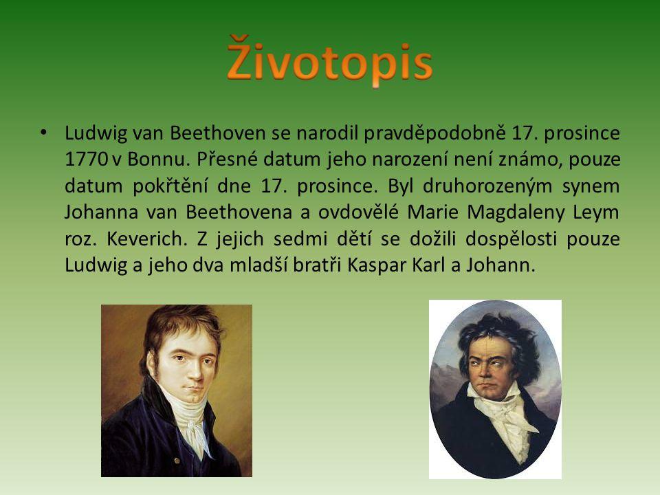 Ludwig van Beethoven se narodil pravděpodobně 17. prosince 1770 v Bonnu. Přesné datum jeho narození není známo, pouze datum pokřtění dne 17. prosince.