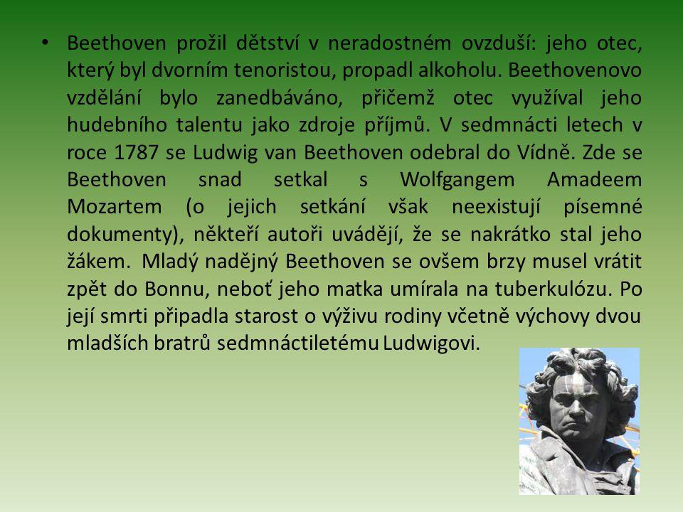 Beethoven prožil dětství v neradostném ovzduší: jeho otec, který byl dvorním tenoristou, propadl alkoholu. Beethovenovo vzdělání bylo zanedbáváno, při