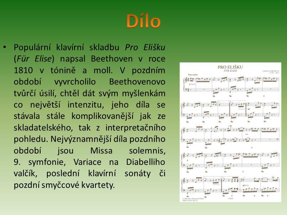 Populární klavírní skladbu Pro Elišku (Für Elise) napsal Beethoven v roce 1810 v tónině a moll. V pozdním období vyvrcholilo Beethovenovo tvůrčí úsilí