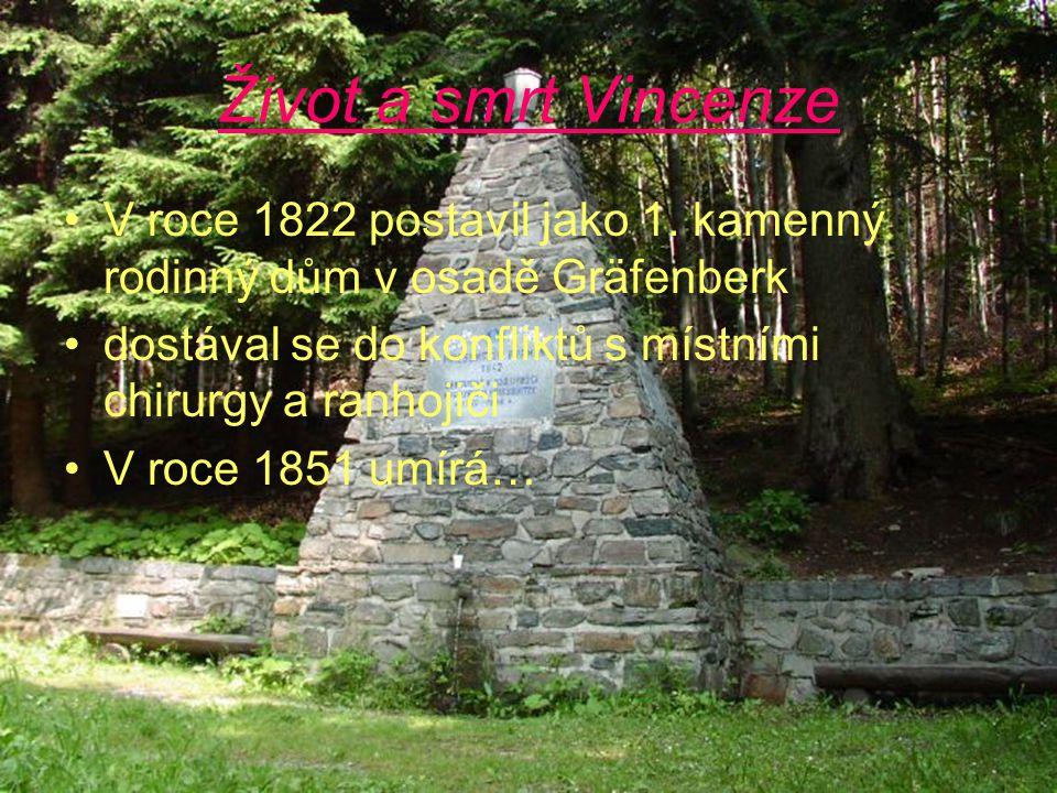 Život a smrt Vincenze V roce 1822 postavil jako 1. kamenný rodinný dům v osadě Gräfenberk dostával se do konfliktů s místními chirurgy a ranhojiči V r