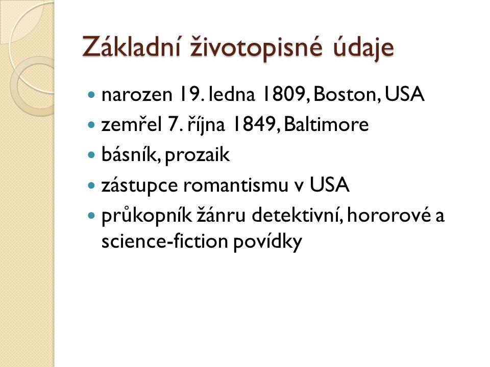 Základní životopisné údaje narozen 19. ledna 1809, Boston, USA zemřel 7. října 1849, Baltimore básník, prozaik zástupce romantismu v USA průkopník žán
