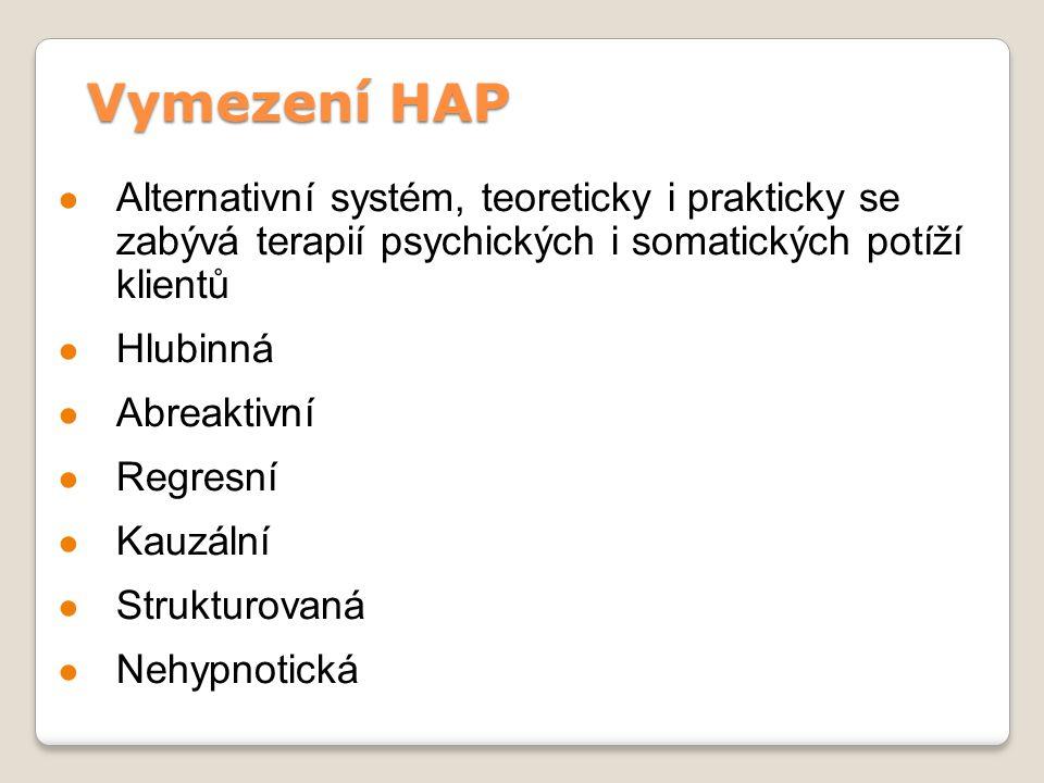 Vymezení HAP ● Alternativní systém, teoreticky i prakticky se zabývá terapií psychických i somatických potíží klientů ● Hlubinná ● Abreaktivní ● Regre