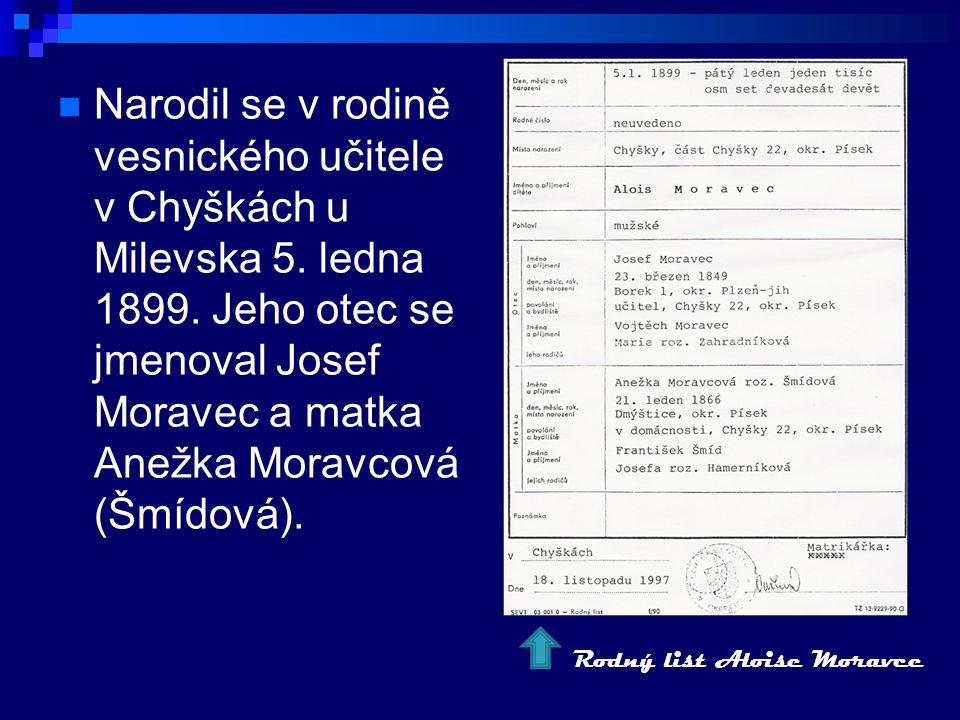 Narodil se v rodině vesnického učitele v Chyškách u Milevska 5.