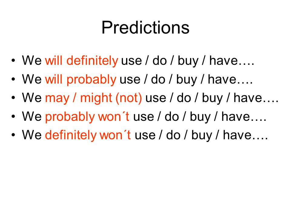 Predictions We will definitely use / do / buy / have….