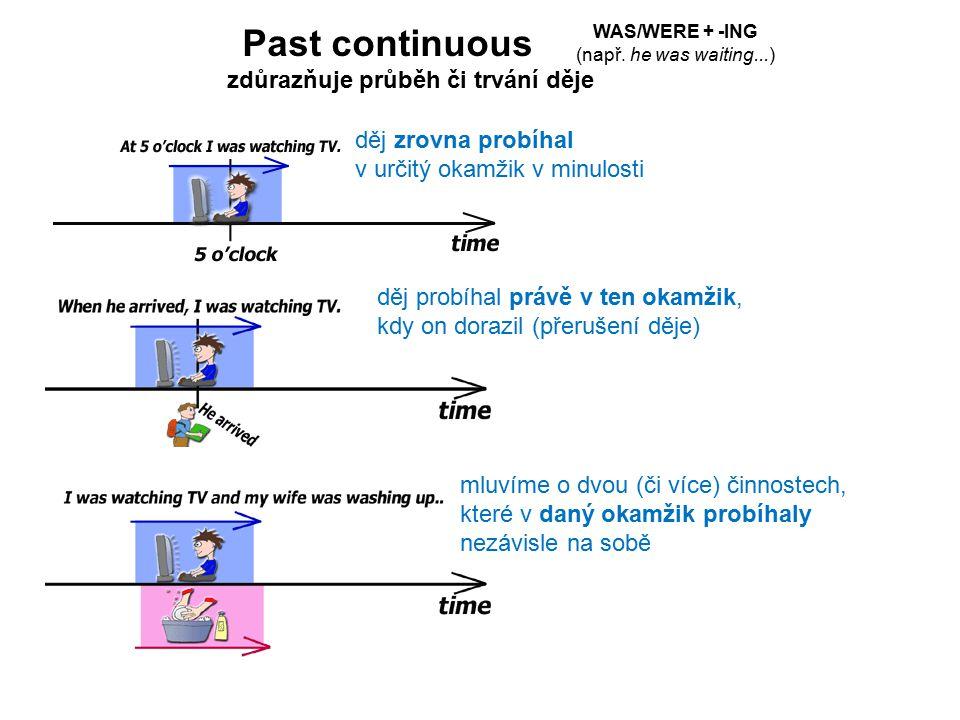 Past continuous děj zrovna probíhal v určitý okamžik v minulosti děj probíhal právě v ten okamžik, kdy on dorazil (přerušení děje) mluvíme o dvou (či více) činnostech, které v daný okamžik probíhaly nezávisle na sobě WAS/WERE + -ING (např.