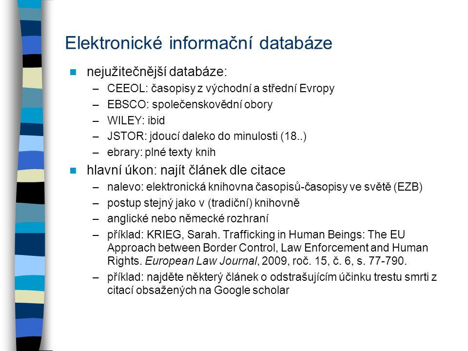 """Beck-online: http://www.beck-online.czhttp://www.beck-online.cz –přístupné odkudkoliv –přihlašovací údaje: ze sítě UP nyní jíž automaticky, externě snad heslo z knihovny obsah –možnost obecného vyhledávání –jinak rozděleno podle oborů komentáře, odborné knihy –články v časopisech: Právní rozhledy, Soudní rozhledy, Ad Notam (vše plné texty), možnost opět postupovat jako v knihovně; pak řada časopisů alespoň anotována příklad: vše ohledně tématu """"sázka a hra –možnost filtrovat výsledky na levé straně příklad: najít článek """"BENÁK, Jaroslav."""