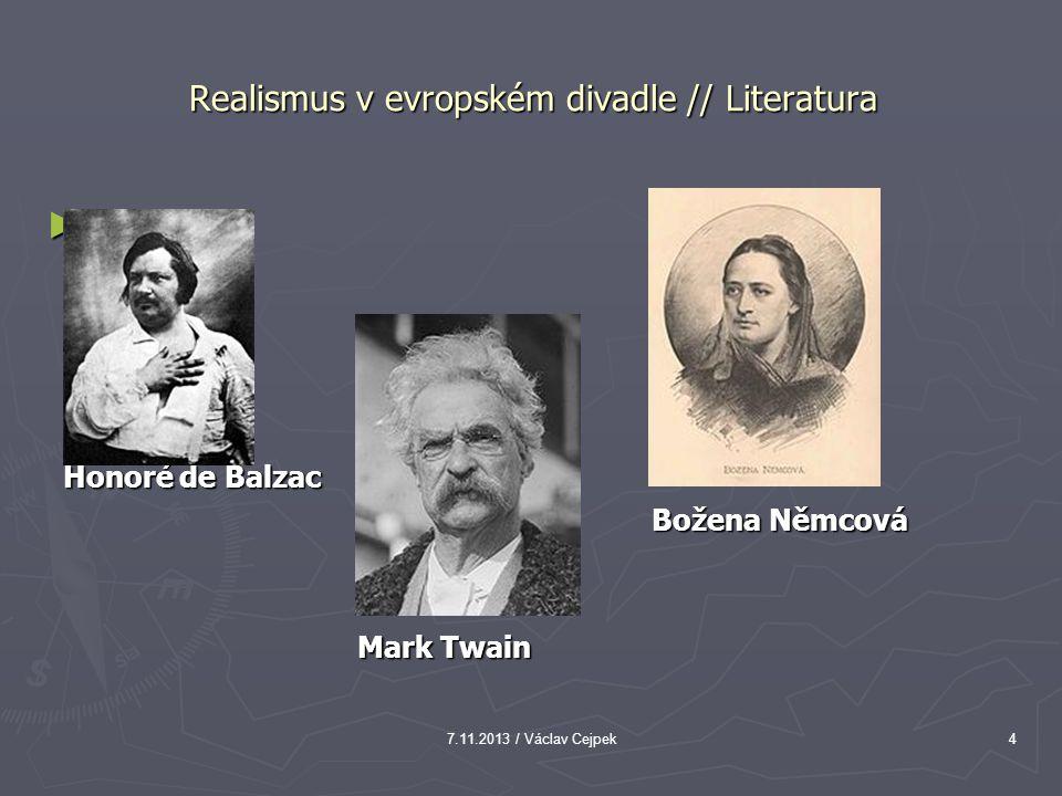 Realismus v evropském divadle // Literatura ► Honoré de Balzac Honoré de Balzac Božena Němcová Božena Němcová Mark Twain Mark Twain 7.11.2013 / Václav