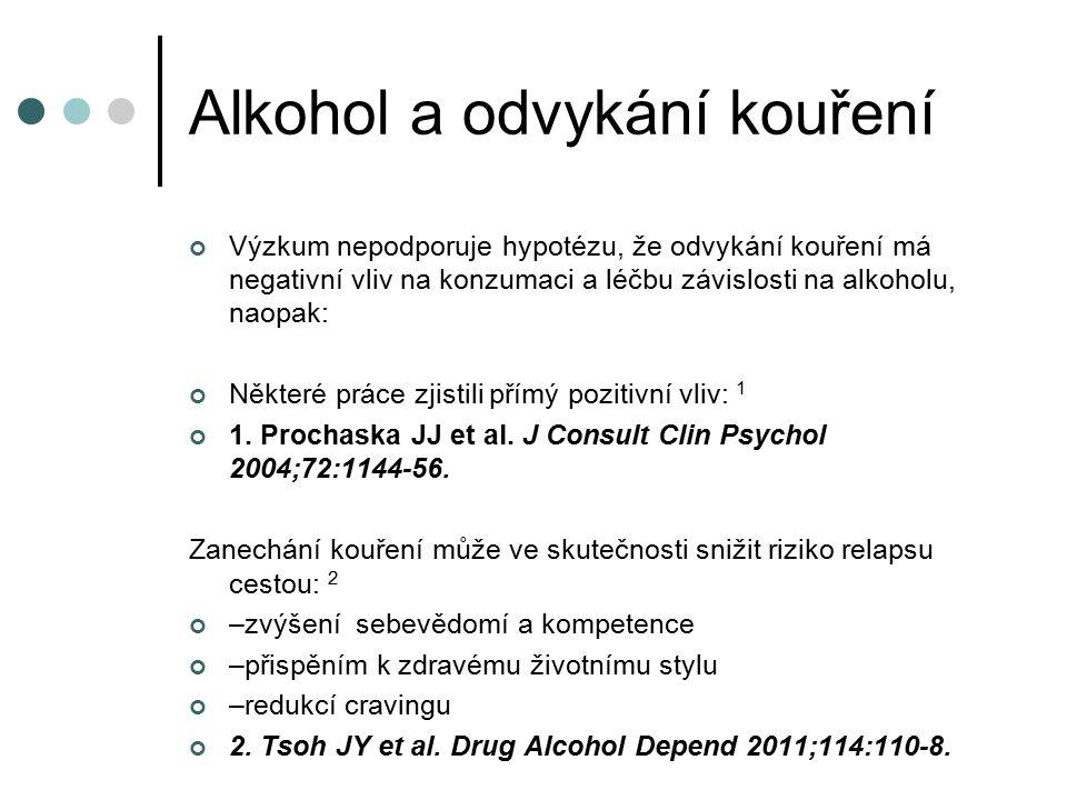 Alkohol a odvykání kouření Výzkum nepodporuje hypotézu, že odvykání kouření má negativní vliv na konzumaci a léčbu závislosti na alkoholu, naopak: Některé práce zjistili přímý pozitivní vliv: 1 1.