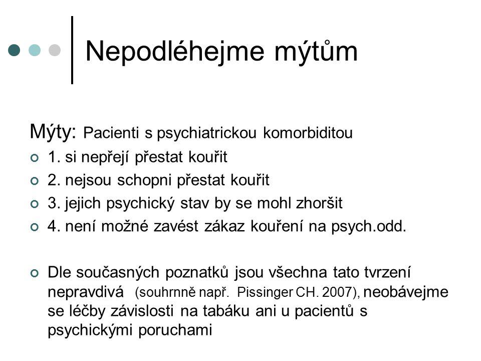 Nepodléhejme mýtům Mýty: Pacienti s psychiatrickou komorbiditou 1. si nepřejí přestat kouřit 2. nejsou schopni přestat kouřit 3. jejich psychický stav