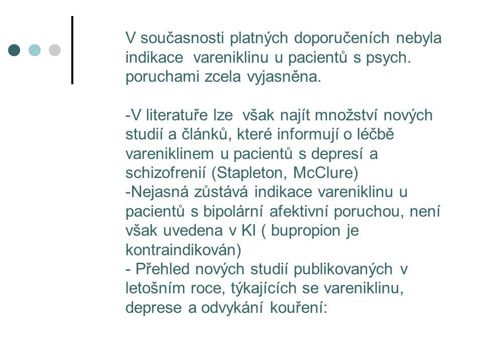 V současnosti platných doporučeních nebyla indikace vareniklinu u pacientů s psych. poruchami zcela vyjasněna. -V literatuře lze však najít množství n