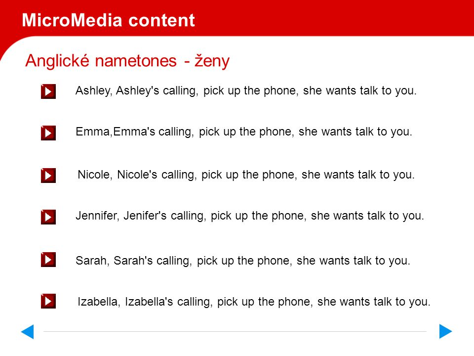 Anglické nametones MicroMedia s.r.o. uvádí