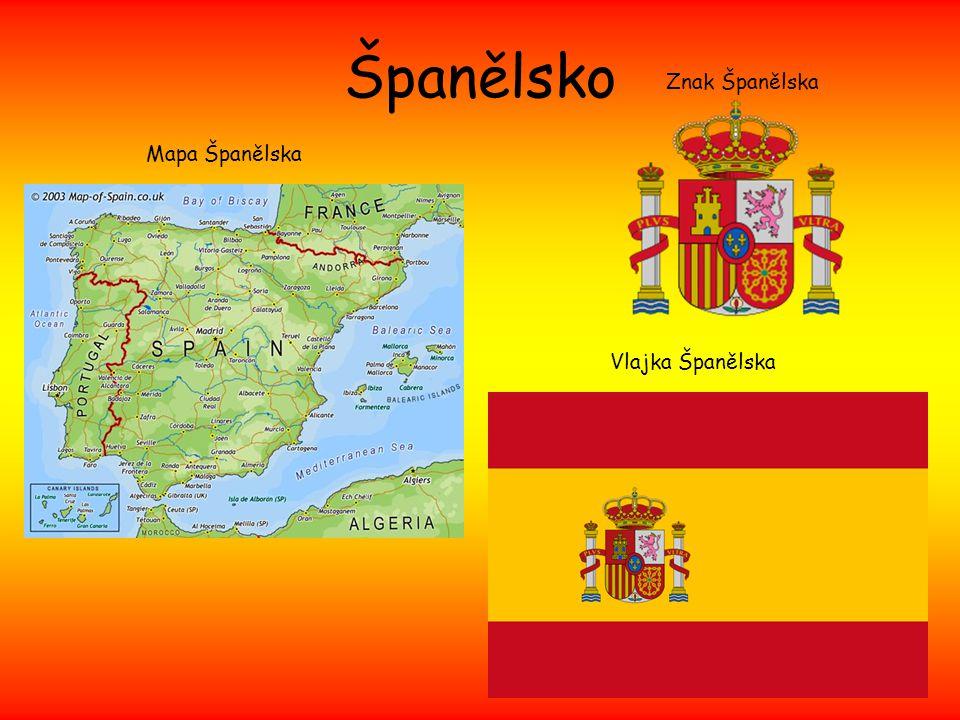Španělsko Mapa Španělska Znak Španělska Vlajka Španělska