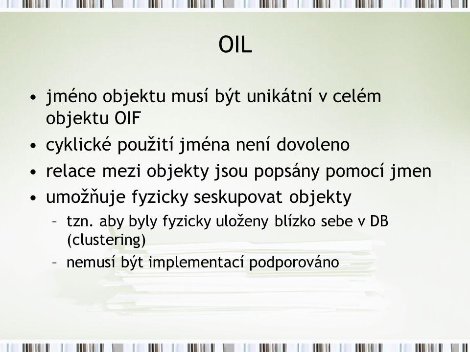 OIL jméno objektu musí být unikátní v celém objektu OIF cyklické použití jména není dovoleno relace mezi objekty jsou popsány pomocí jmen umožňuje fyzicky seskupovat objekty –tzn.
