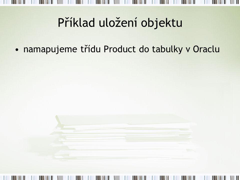 Příklad uložení objektu namapujeme třídu Product do tabulky v Oraclu