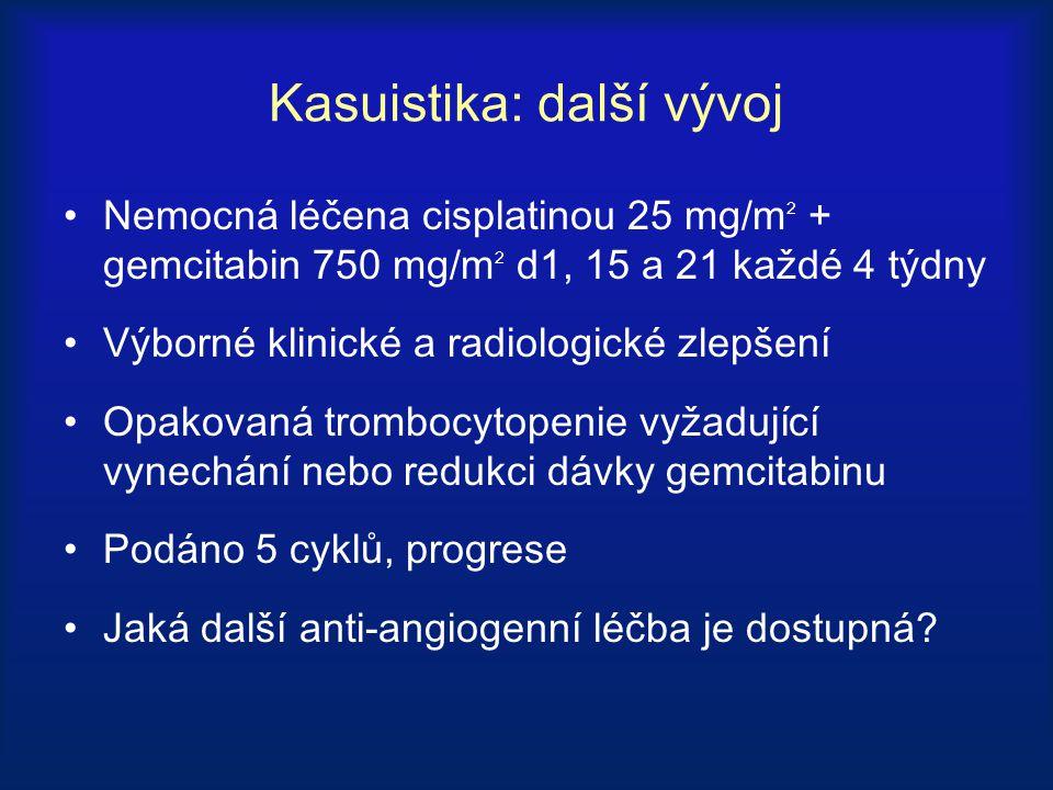 Kasuistika: další vývoj Nemocná léčena cisplatinou 25 mg/m 2 + gemcitabin 750 mg/m 2 d1, 15 a 21 každé 4 týdny Výborné klinické a radiologické zlepšen