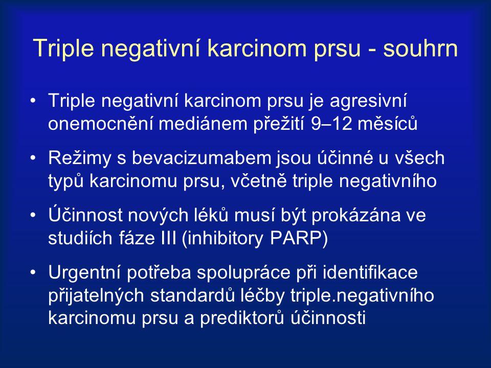 Triple negativní karcinom prsu - souhrn Triple negativní karcinom prsu je agresivní onemocnění mediánem přežití 9–12 měsíců Režimy s bevacizumabem jso