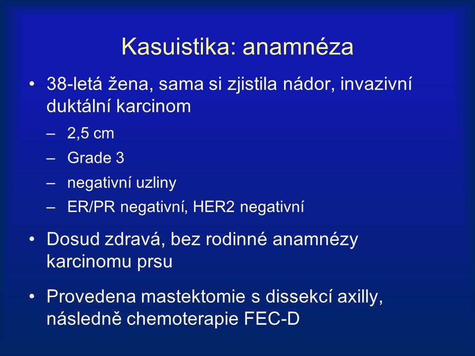 Kasuistika: klinický průběh 2 roky po adjuvantní chemoterapie přichází s kašlem, dušností a nádorem na hrudní stěně Biopsie potvrdila invazivní duktální karcinom, ER/PR a HER2 negativní Restaging prokazuje mnohočetné uzly v plicích a mediastinální lymfadenopatii Bez metastáz v játrech a kostech