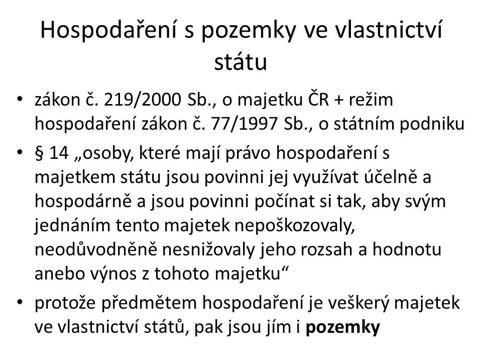 Hospodaření s pozemky ve vlastnictví státu zákon č.