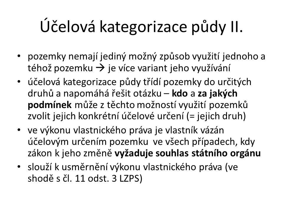 Účelová kategorizace půdy II.