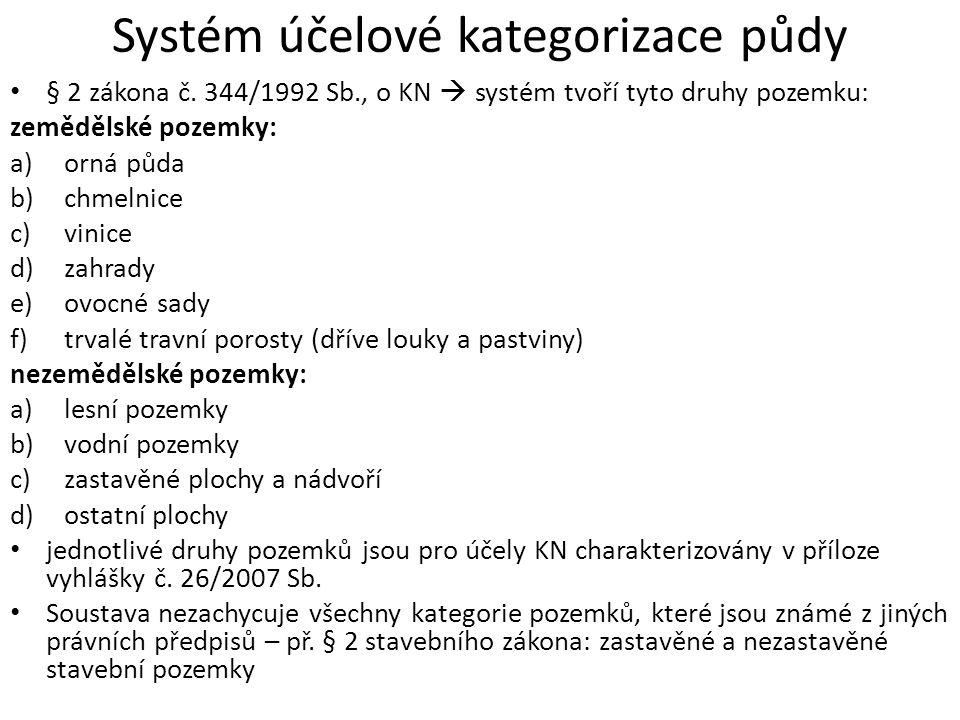 Systém účelové kategorizace půdy § 2 zákona č.