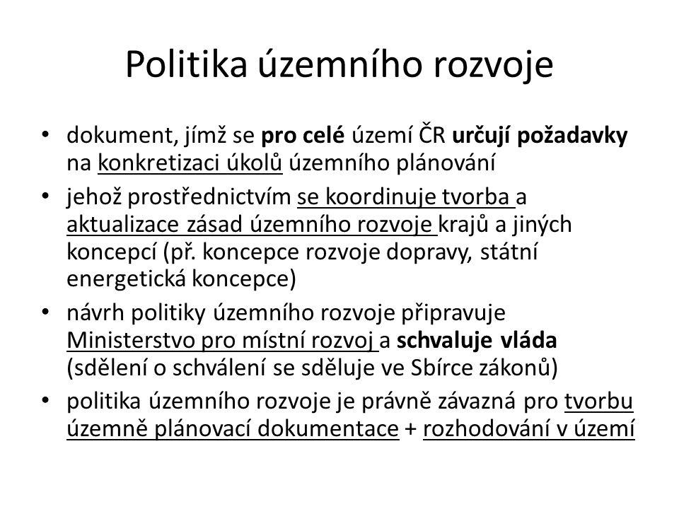 Politika územního rozvoje dokument, jímž se pro celé území ČR určují požadavky na konkretizaci úkolů územního plánování jehož prostřednictvím se koordinuje tvorba a aktualizace zásad územního rozvoje krajů a jiných koncepcí (př.