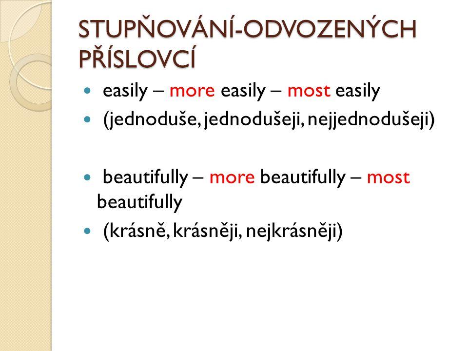 STUPŇOVÁNÍ-ODVOZENÝCH PŘÍSLOVCÍ easily – more easily – most easily (jednoduše, jednodušeji, nejjednodušeji) beautifully – more beautifully – most beau