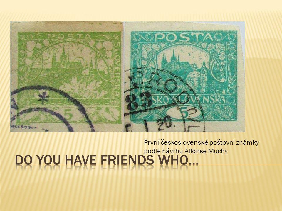 První československé poštovní známky podle návrhu Alfonse Muchy