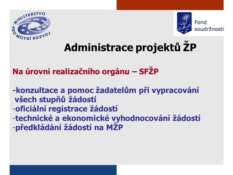 Administrace projektů ŽP Na úrovni realizačního orgánu – SFŽP -konzultace a pomoc žadatelům při vypracování všech stupňů žádostí -oficiální registrace žádostí -technické a ekonomické vyhodnocování žádostí -předkládání žádostí na MŽP