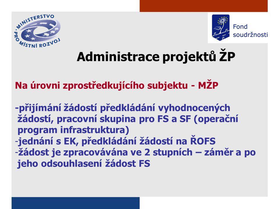 Administrace projektů ŽP Na úrovni zprostředkujícího subjektu - MŽP -přijímání žádostí předkládání vyhodnocených žádostí, pracovní skupina pro FS a SF (operační program infrastruktura) -jednání s EK, předkládání žádostí na ŘOFS -žádost je zpracovávána ve 2 stupních – záměr a po jeho odsouhlasení žádost FS