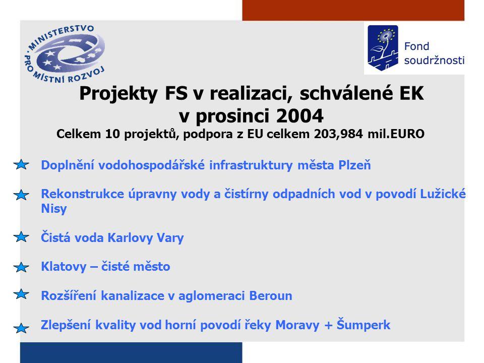 Doplnění vodohospodářské infrastruktury města Plzeň Rekonstrukce úpravny vody a čistírny odpadních vod v povodí Lužické Nisy Čistá voda Karlovy Vary Klatovy – čisté město Rozšíření kanalizace v aglomeraci Beroun Zlepšení kvality vod horní povodí řeky Moravy + Šumperk Projekty FS v realizaci, schválené EK v prosinci 2004 Celkem 10 projektů, podpora z EU celkem 203,984 mil.EURO