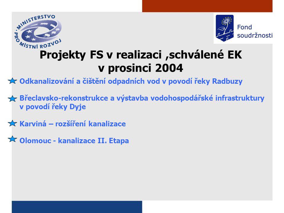 Odkanalizování a čištění odpadních vod v povodí řeky Radbuzy Břeclavsko-rekonstrukce a výstavba vodohospodářské infrastruktury v povodí řeky Dyje Karviná – rozšíření kanalizace Olomouc - kanalizace II.