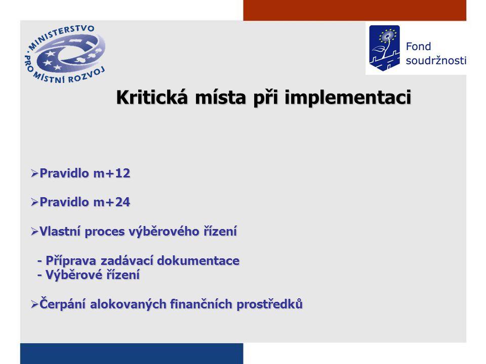  Pravidlo m+12  Pravidlo m+24  Vlastní proces výběrového řízení - Příprava zadávací dokumentace - Příprava zadávací dokumentace - Výběrové řízení - Výběrové řízení  Čerpání alokovaných finančních prostředků Kritická místa při implementaci