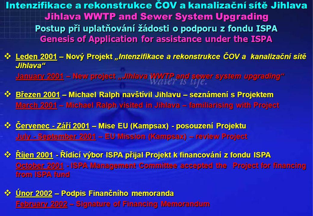 """ Leden 2001 – Nový Projekt """"Intenzifikace a rekonstrukce ČOV a kanalizační sítě Jihlava"""" January 2001 – New project """"Jihlava WWTP and sewer system up"""