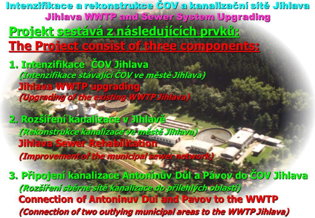Intenzifikace a rekonstrukce ČOV a kanalizační sítě Jihlava Jihlava WWTP and Sewer System Upgrading Projekt sestává z následujících prvků: The Project