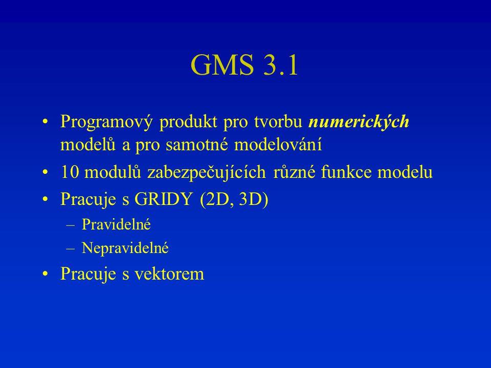 GMS 3.1 Programový produkt pro tvorbu numerických modelů a pro samotné modelování 10 modulů zabezpečujících různé funkce modelu Pracuje s GRIDY (2D, 3
