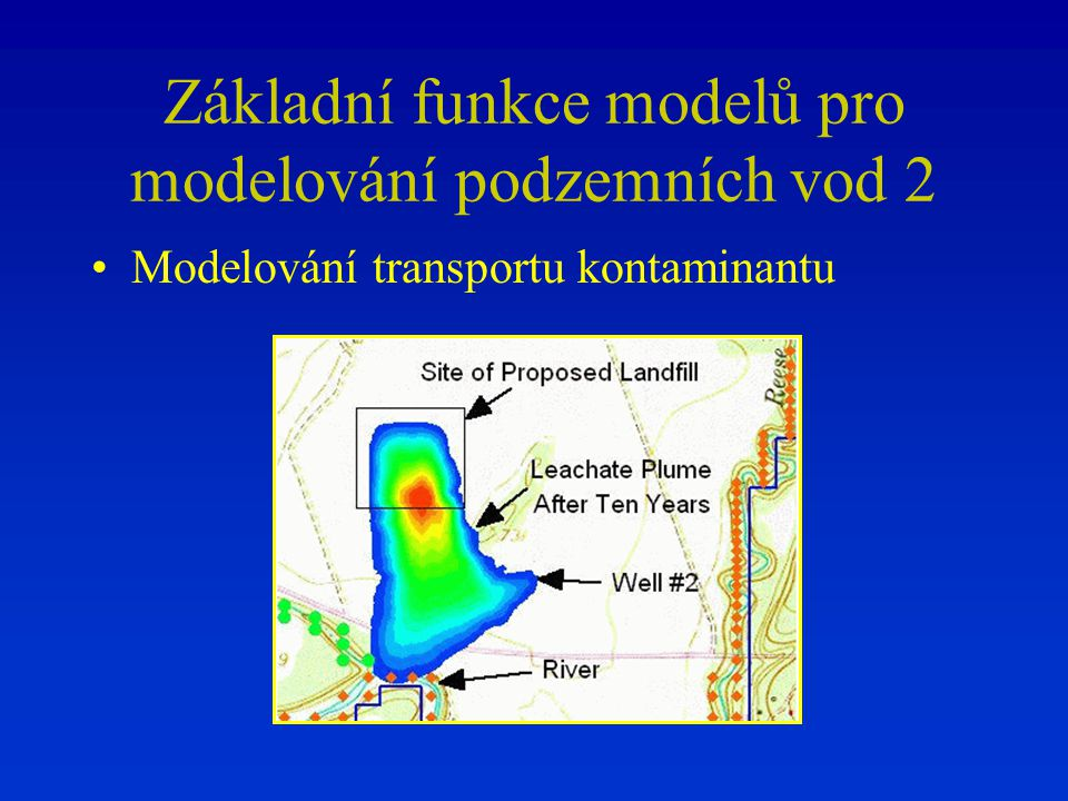 Základní funkce modelů pro modelování podzemních vod 2 Modelování transportu kontaminantu