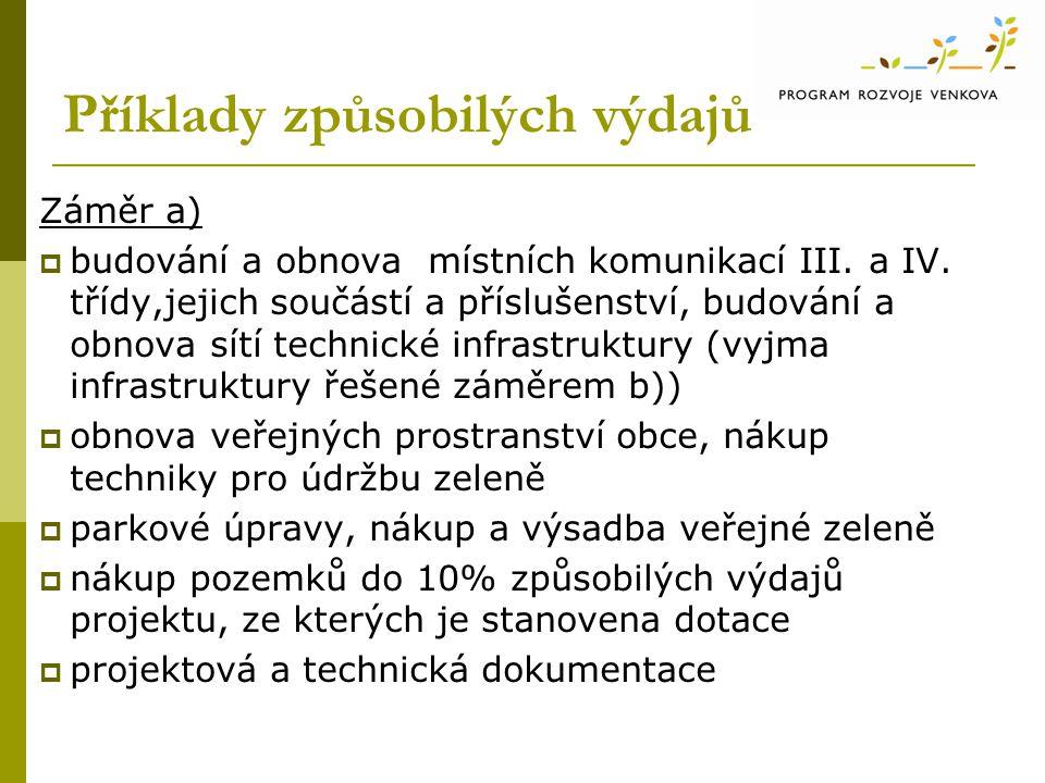 Příklady způsobilých výdajů Záměr a)  budování a obnova místních komunikací III.