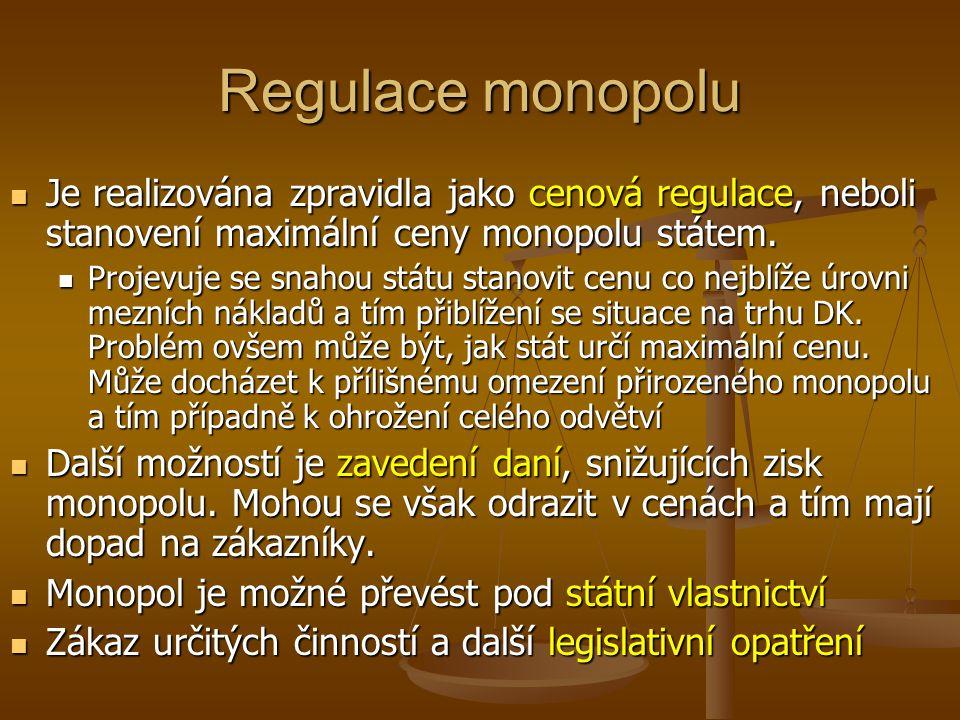 Regulace monopolu Je realizována zpravidla jako cenová regulace, neboli stanovení maximální ceny monopolu státem. Je realizována zpravidla jako cenová