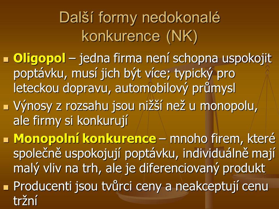 Další formy nedokonalé konkurence (NK) Oligopol – jedna firma není schopna uspokojit poptávku, musí jich být více; typický pro leteckou dopravu, autom