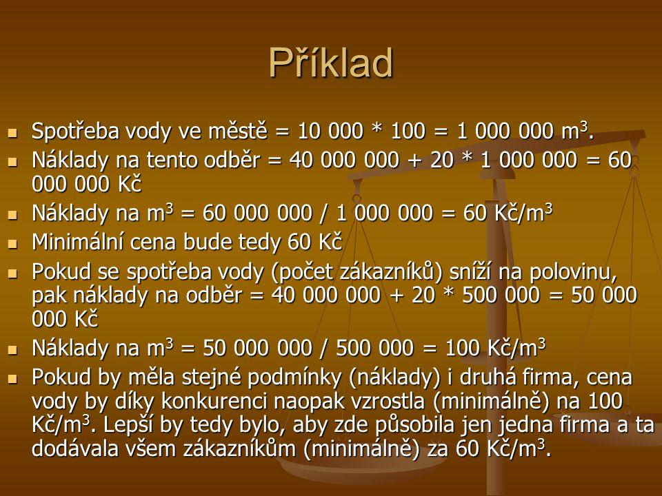 Příklad Spotřeba vody ve městě = 10 000 * 100 = 1 000 000 m 3. Spotřeba vody ve městě = 10 000 * 100 = 1 000 000 m 3. Náklady na tento odběr = 40 000