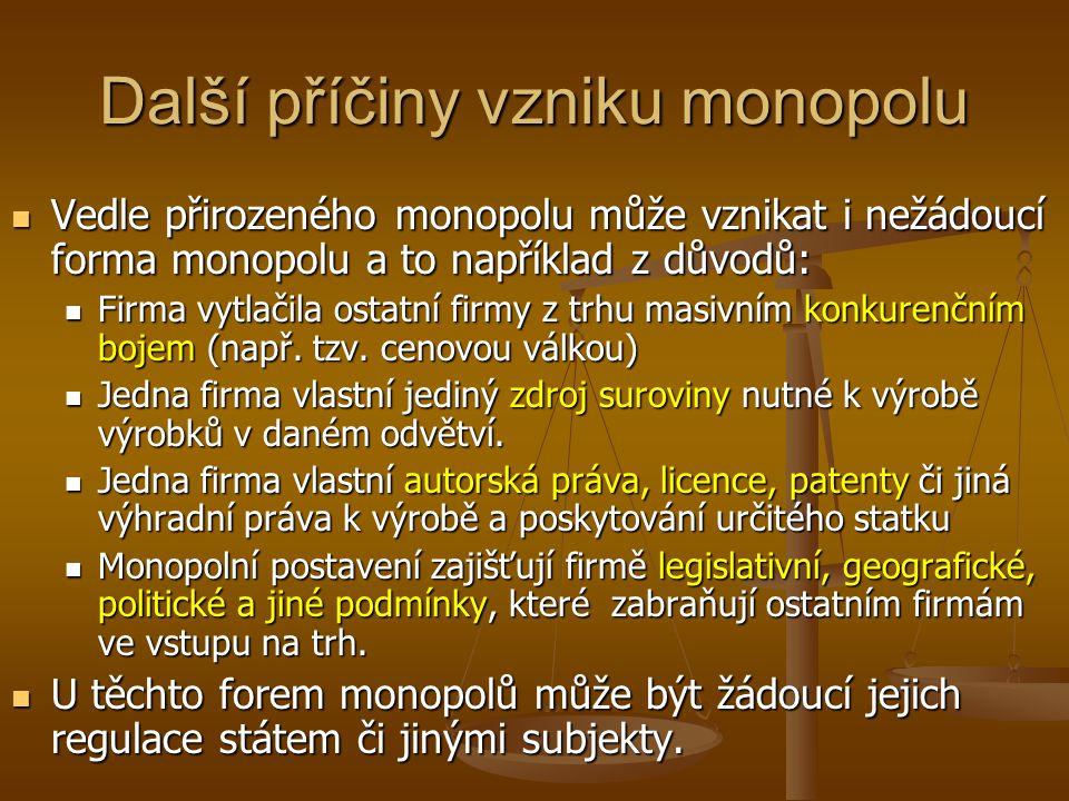 Další příčiny vzniku monopolu Vedle přirozeného monopolu může vznikat i nežádoucí forma monopolu a to například z důvodů: Vedle přirozeného monopolu m
