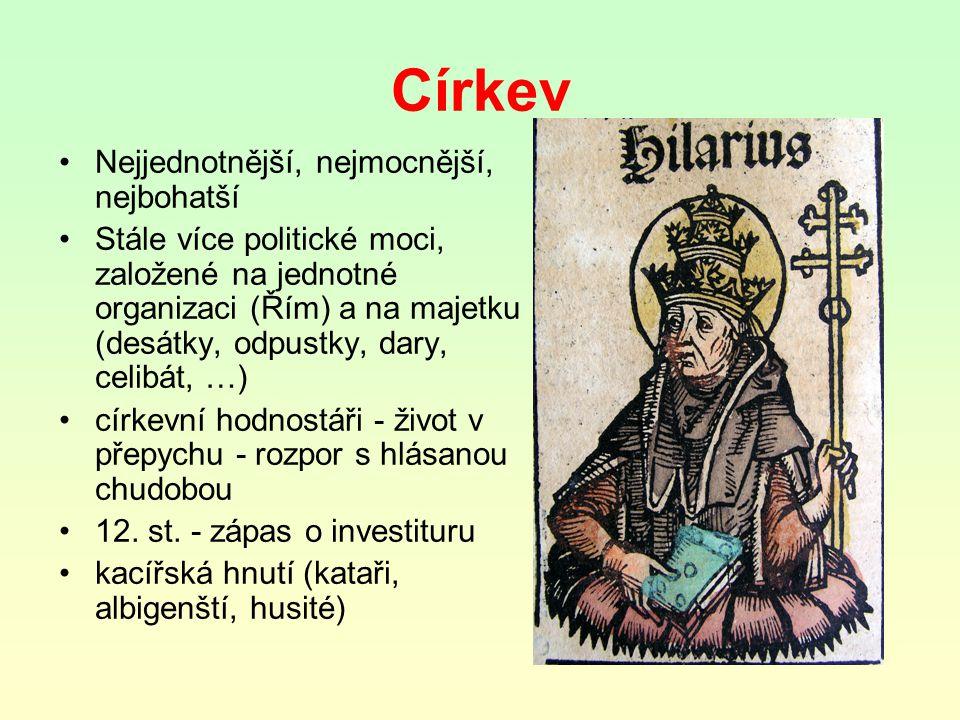 Církev Nejjednotnější, nejmocnější, nejbohatší Stále více politické moci, založené na jednotné organizaci (Řím) a na majetku (desátky, odpustky, dary, celibát, …) církevní hodnostáři - život v přepychu - rozpor s hlásanou chudobou 12.
