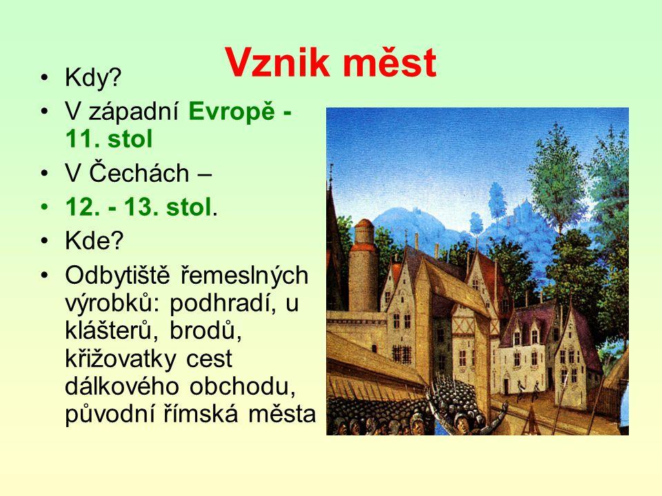 Vznik měst Kdy.V západní Evropě - 11. stol V Čechách – 12.