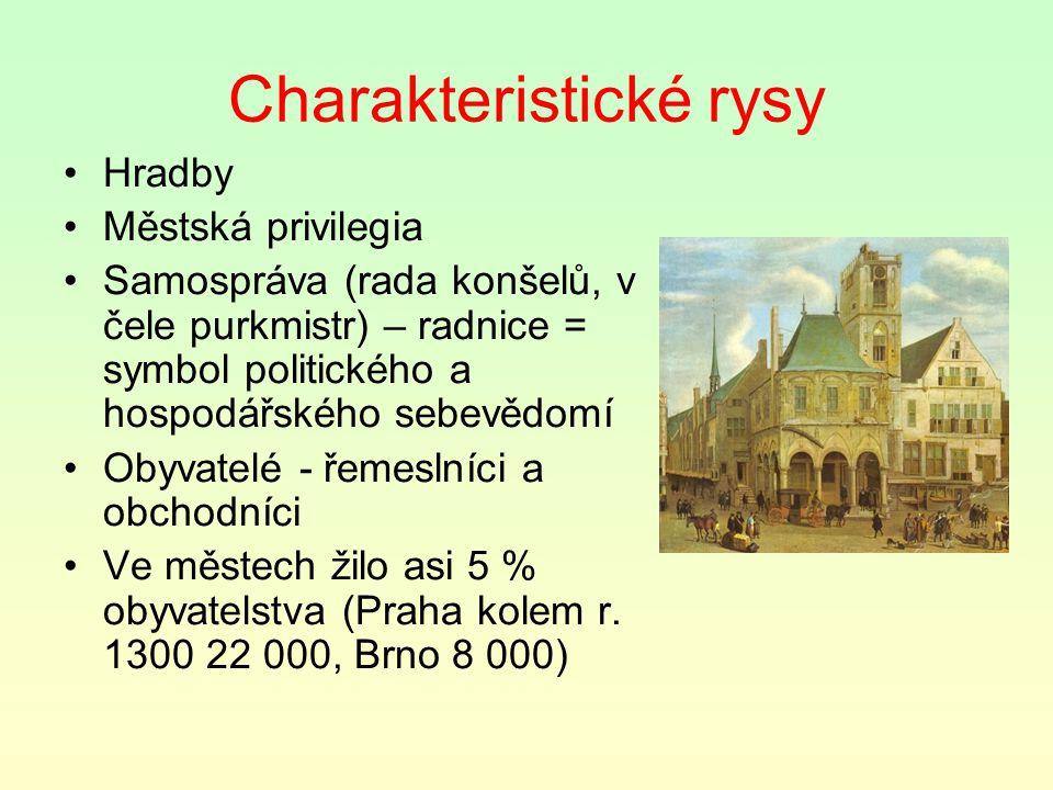 Charakteristické rysy Hradby Městská privilegia Samospráva (rada konšelů, v čele purkmistr) – radnice = symbol politického a hospodářského sebevědomí Obyvatelé - řemeslníci a obchodníci Ve městech žilo asi 5 % obyvatelstva (Praha kolem r.